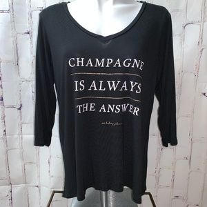 Betsey Johnson Champagne Is The Answer Top T-Shirt